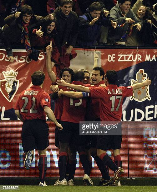Osasuna celebrate after scoring against Bordeaux during a UEFA Cup return leg football match in Pamplona 22 February 2007 Osasuna won 10 AFP PHOTO/A...