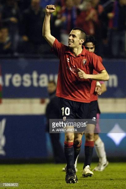 Osasuna's Patxi Pual celebrates after beating Bordeaux during a UEFA Cup return leg football match in Pamplona 22 February 2007 Osasuna won 10 AFP...