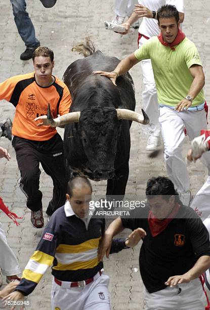 Participants run ahead of Dolores Aguirre fighting bulls during the first day San Fermin bullrun 07 July 2007 in Pamplona northern Spain The Basque...