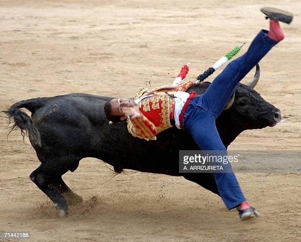 Spanish matador Antonio Ferrera is gored by a Victorino Martin fighting bull 14 July 2006 during the last corrida of the San Fermin festivities in...