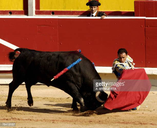Spanish matador Pepin Liria makes a pass a Victorino Martin fighting bull 14 July 2007 during the last corrida of the San Fermin festivities in...