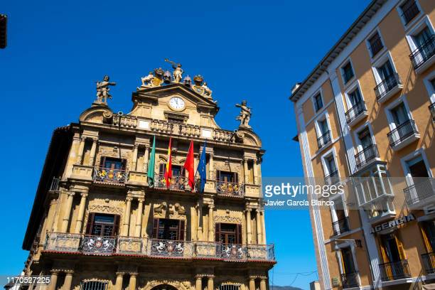 pamplona town hall - fiesta of san fermin stock pictures, royalty-free photos & images