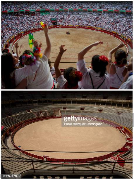 Pamplona's bull ring is seen empty after the San Fermin Festival was cancelled earlier this year, on July 07, 2020 in Pamplona, Spain. The annual...