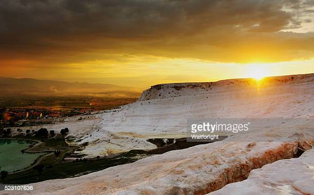 Pamukkale scenery at sunset, natural site in Denizli Province in southwestern Turkey.