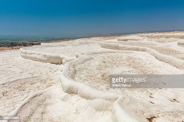 pamukkale, turkey. travertine pools and terraces. - terraced field stock pictures, royalty-free photos & images