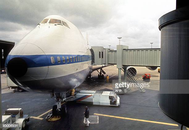 A Pan Am Boeing 747 is seen at Orly's airport in May 1970 On September 30 the first 747 was rolled out of the Everett assembly building before the...