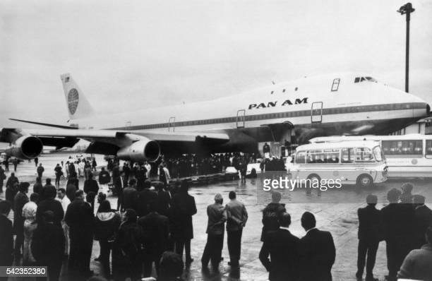 A Pan Am Boeing 747 is seen just after landing at London's Heathrow airport on January 22 1970 after its first commercial flight On September 30 the...