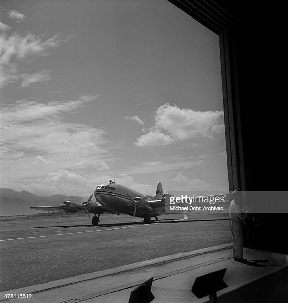 Pan American Airways clipper sits on the runway at the airport circa 1947 in San Juan Puerto Rico