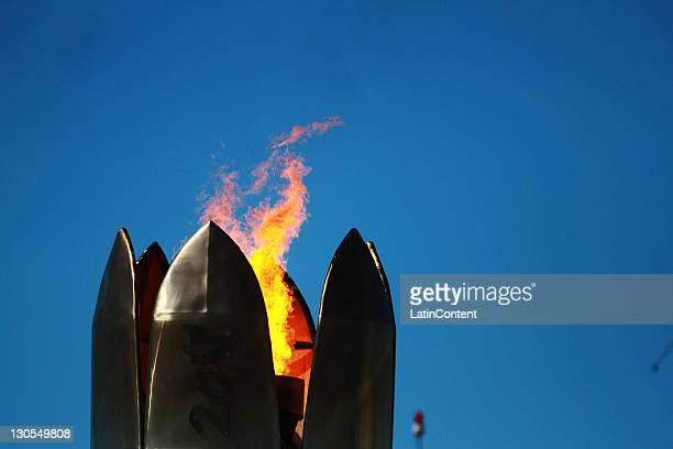 Pan american flame during the 2011 XVI Pan American Games at Telmex Athletics Stadium on October 25, 2011 in Guadalajara, Mexico.
