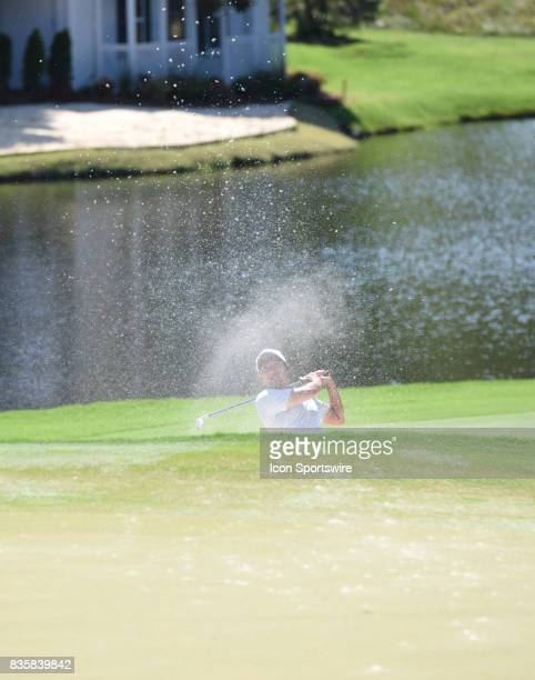 Pan blasts from the sand trap on the 15th hole during the third round of the Wyndham Championship on August 19 2017 at Sedgefield Country Club in...