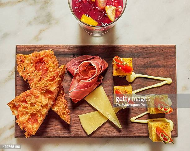 Pan con Tomate con Manchengo y Jamon Tortilla de Chorizo Tortilla Espanola and a glass of sangria at Boqueria in Washington DC