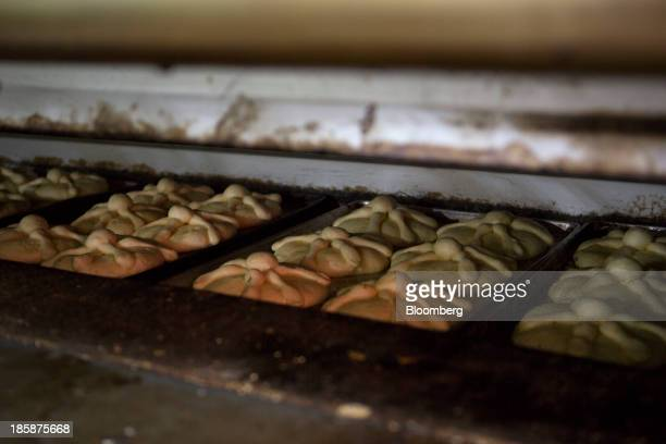 Pan de muerto bakes in an oven at La Ideal bakery in Mexico City Mexico on Thursday Oct 24 2013 The pan de muerto or bread of the dead is a sweet...