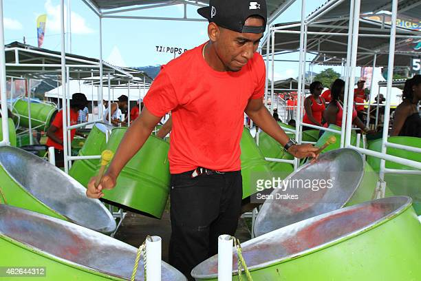 Pan Elders Steel Orchestra performs during National Panorama Semi-Finals in the Queens Park Savannah as part of Trinidad and Tobago Carnival on...