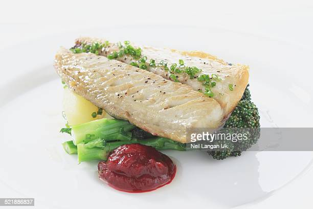 pan fried sea bass with vegetables