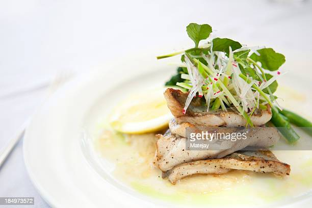 Pan fried snapper with green vegetables and parsnip puree
