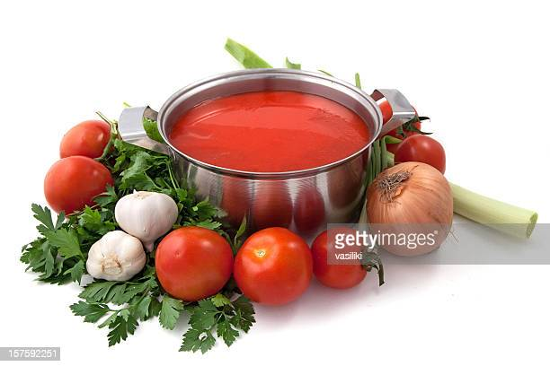 pan of homemade tomato sauce with vegetables - tomato soup stock photos and pictures