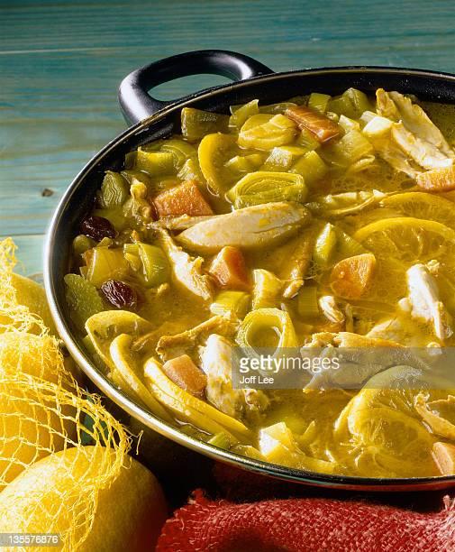 Pan of lemon chicken soup