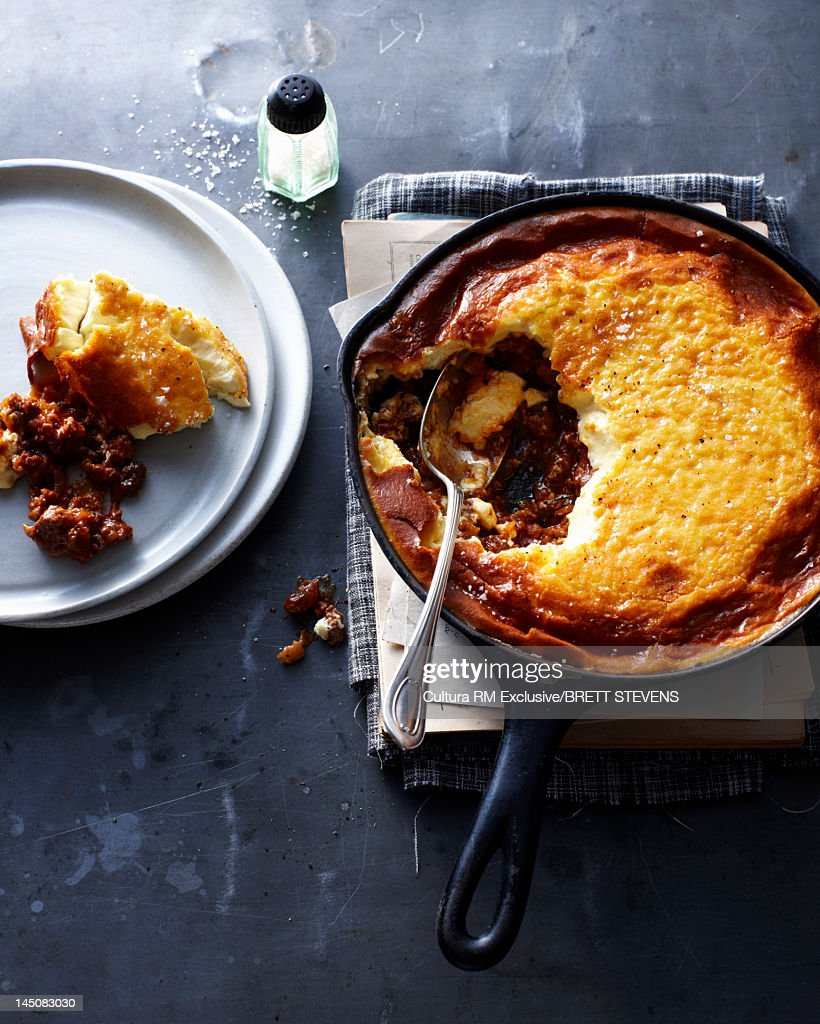 Pan of potato and meat pie : Stock Photo
