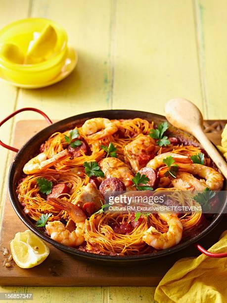Pan of prawns chicken and chorizo