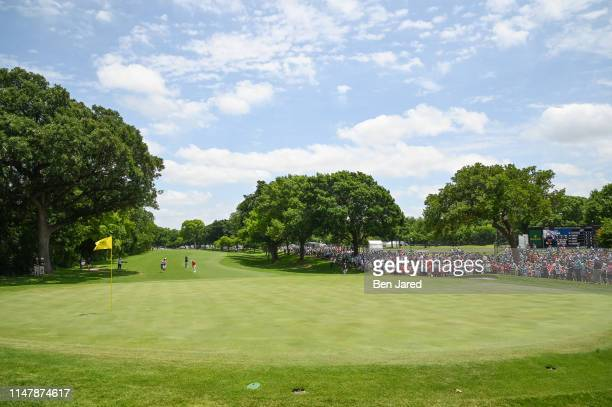T Pan of Taiwan addresses his ball by the fifth green during the final round of the Charles Schwab Challenge at Colonial Country Club on May 26 2019...