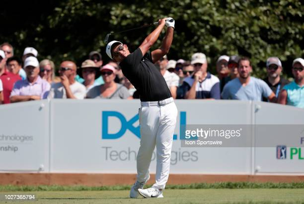 Pan of Taiwan drives from the 1st tee during the Final Round of the Dell Technologies Championship on September 3 at TPC Boston in Norton,...