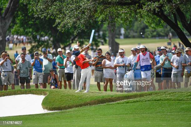 T Pan of Taiwan hits a shot on the fifteenth hole during the final round of the Charles Schwab Challenge at Colonial Country Club on May 26 2019 in...