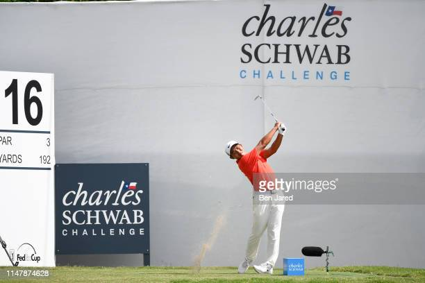 T Pan of Taiwan hits a shot on the sixteenth tee during the final round of the Charles Schwab Challenge at Colonial Country Club on May 26 2019 in...