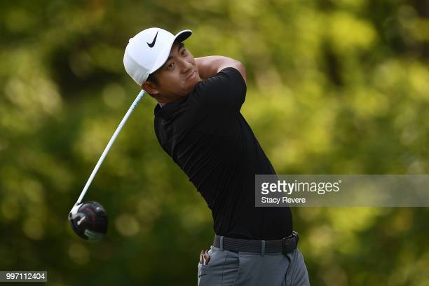 T Pan of Taiwan hits his tee shot on the 15th hole during the first round of the John Deere Classic at TPC Deere Run on July 12 2018 in Silvis...