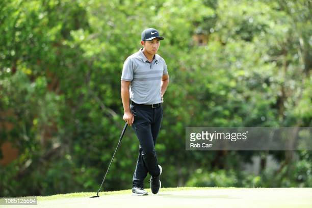 C T Pan of Taiwan looks on from the 17th green during the first round of the Mayakoba Golf Classic at El Camaleon Mayakoba Golf Course on November 08...