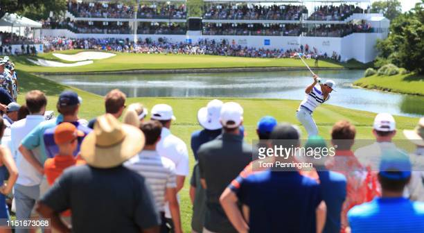 T Pan of Taiwan plays his shot from the 13th tee during the third round of the Charles Schwab Challenge at Colonial Country Club on May 25 2019 in...