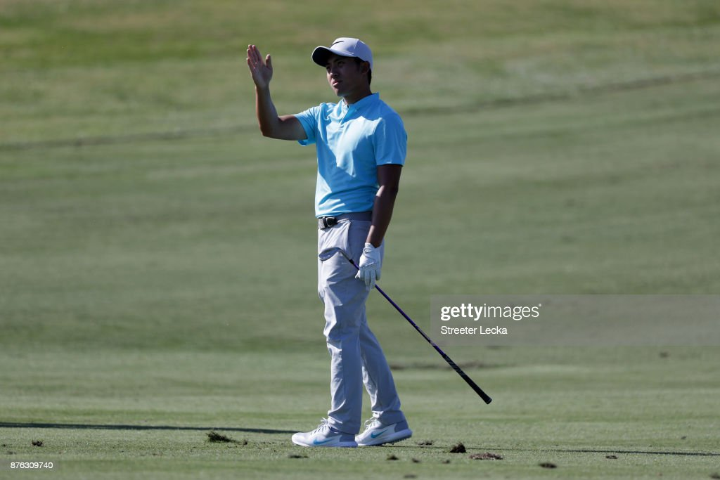C.T. Pan of Taiwan reacts to his shot on the seventh hole during the third round of The RSM Classic at Sea Island Golf Club Seaside Course on November 18, 2017 in St Simons Island, Georgia.