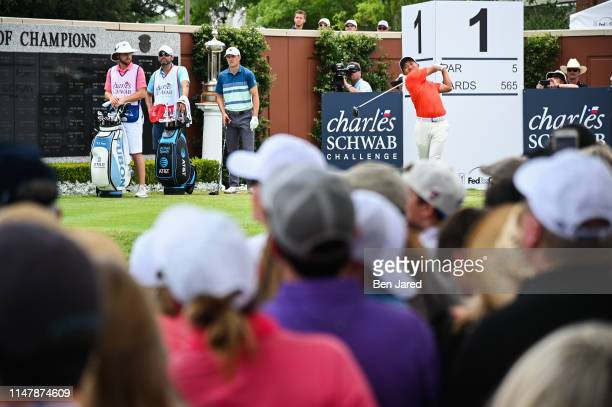 T Pan of Taiwan tees off on the first tee box during the final round of the Charles Schwab Challenge at Colonial Country Club on May 26 2019 in Fort...