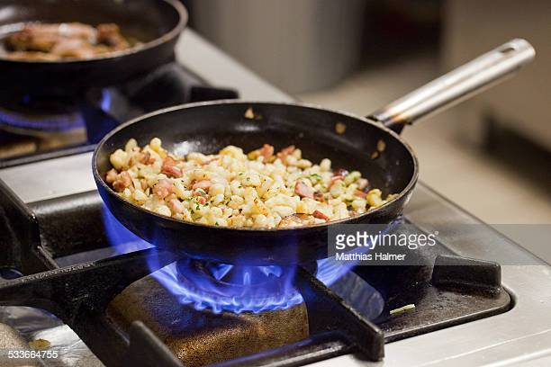 Pan on gas furnace
