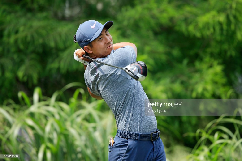 C.T. Pan plays his shot from the 12th tee during the third round of the FedEx St. Jude Classic at TPC Southwind on June 9, 2018 in Memphis, Tennessee.
