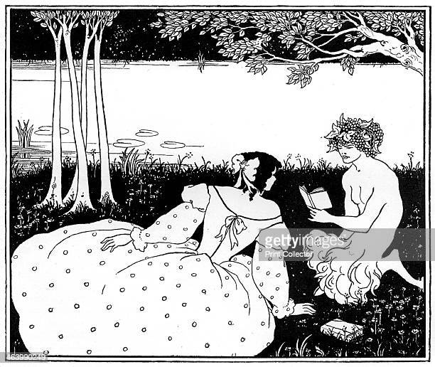 Pan reading to a woman by a brook 1898 Plate taken from The Studio magazine volume 13 no 62