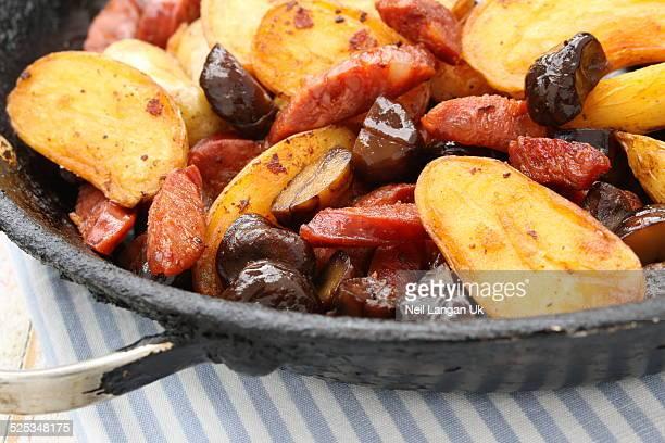 Pan roasted chorizo potatoes and chestnuts