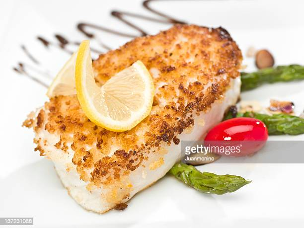 pan roasted fillet of fish - fillet stock pictures, royalty-free photos & images