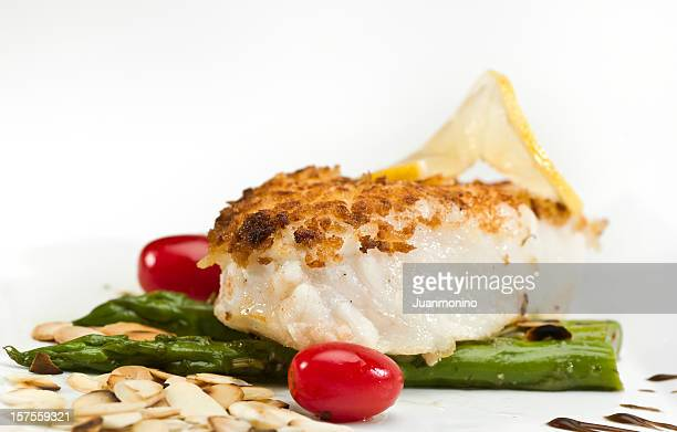 pan roasted fillet of fish - breaded stock photos and pictures