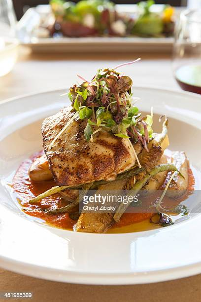 pan roasted organic sturgeon - sturgeon fish stock pictures, royalty-free photos & images