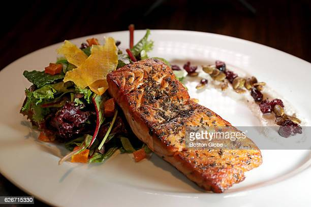 Pan Roasted Scottish Salmon Butternut Squash Cranberry and Sage Risotto Sauteed Baby Spinach and Apple Cider Beurre Blanc pictured at Tempo...