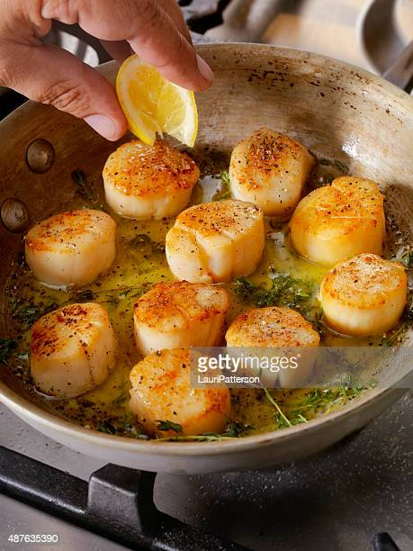 Pan Searing coquilles Saint-Jacques au beurre