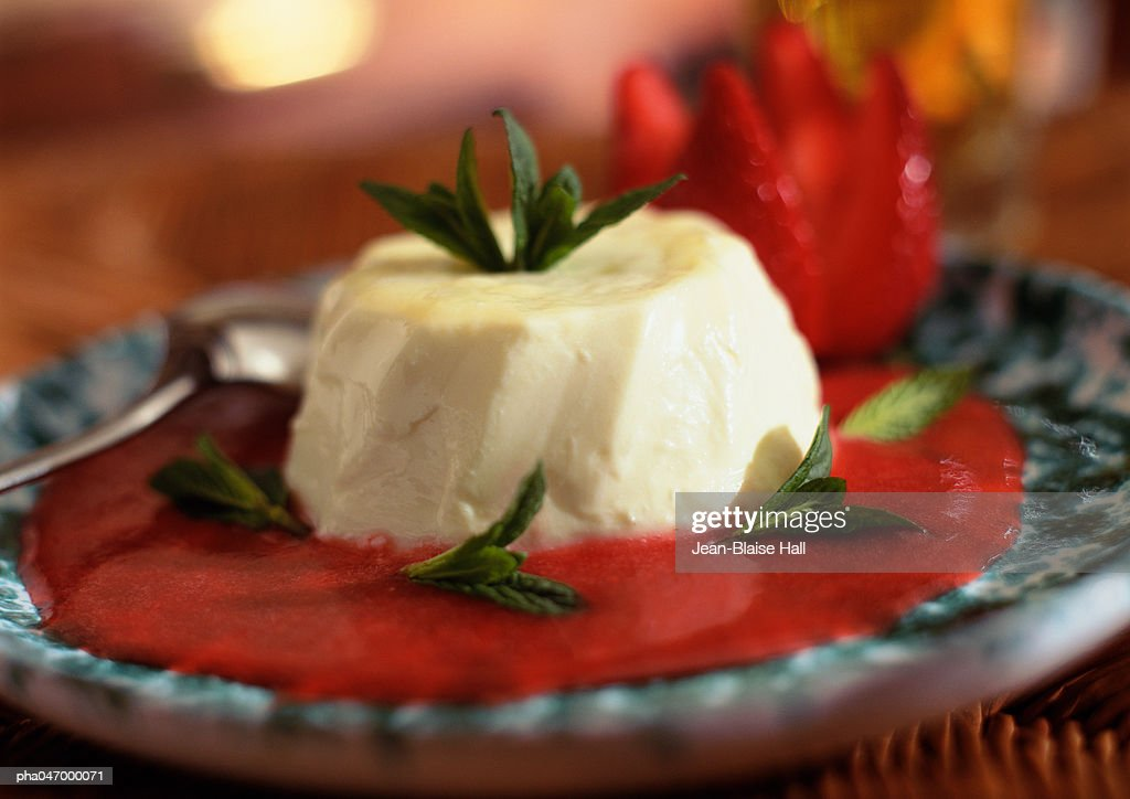 Panacotta, with red fruit coulis and mint leaves, close-up : Stockfoto