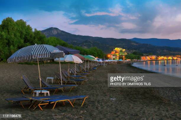"""""""Panagia Glykofilousa""""(Virgin Mary Sweetly Kissing) at Petra of Mytilene island view from the beach"""