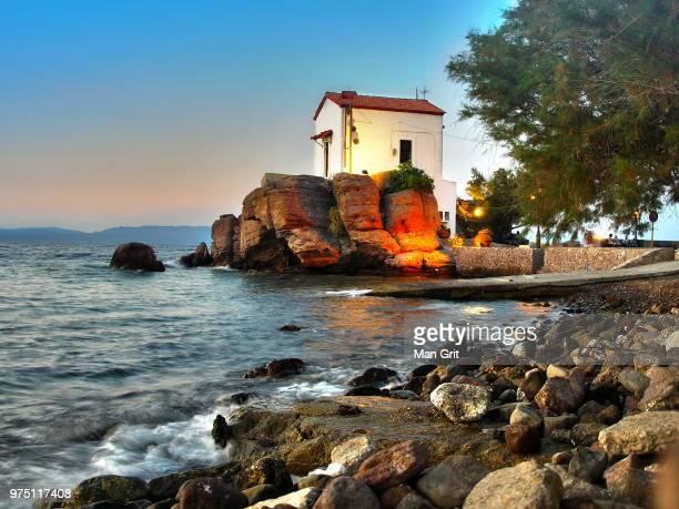 panagia gorgona church at skala sikamineas, mitylena, lesbos, greece - mytilene stock photos and pictures