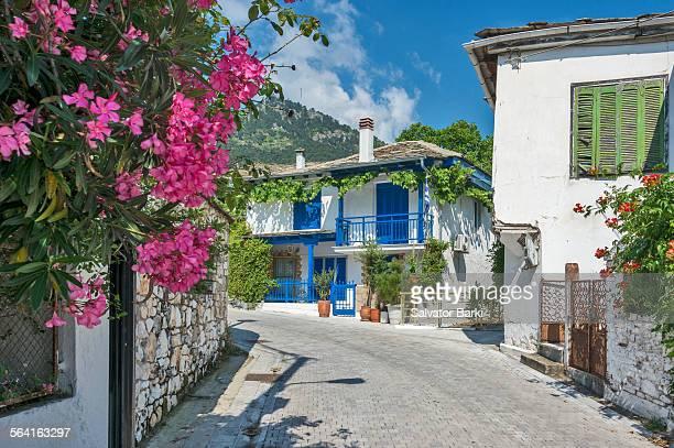 panagia village, thassos - thasos stock photos and pictures