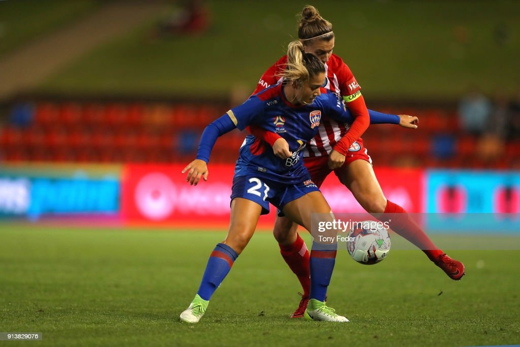 Panagiota Petratos of the Jets contests the ball with Stephanie Catley of City during the round 14 W-League match between the Newcastle Jets and Melbourne City FC at McDonald Jones Stadium on February 3, 2018 in Newcastle, Australia.