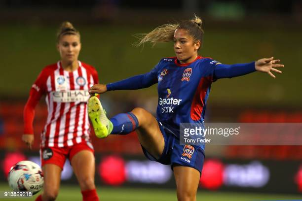 Panagiota Petratos of the Jets controls the ball during the round 14 WLeague match between the Newcastle Jets and Melbourne City FC at McDonald Jones...