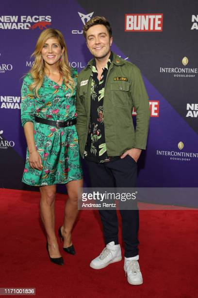 Panagiota Petridou and Philipp Isterewicz attends the Bunte New Faces Award Music on August 29 2019 in Dusseldorf Germany