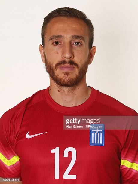 Panagiotis Glykos of Greece poses during the official FIFA World Cup 2014 portrait session on June 10 2014 in Aracaju Brazil