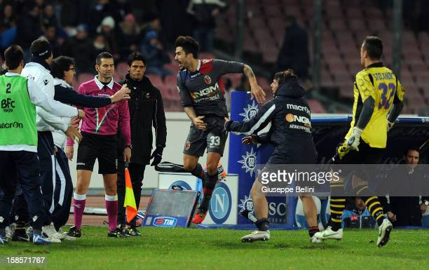 Panagiotis Kone of Bologna celebrates after scoring the winning goal during the TIM Cup SSC Napoli and Bologna FC at Stadio San Paolo on December 19...